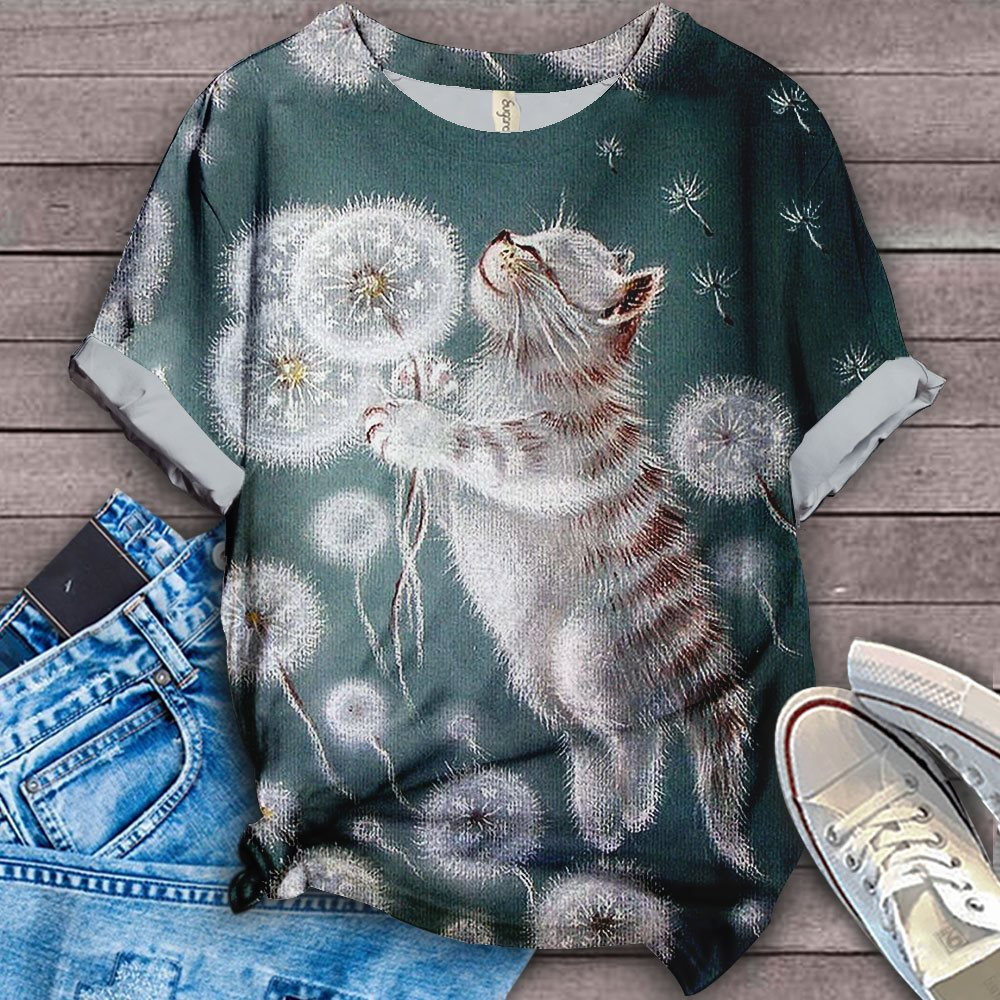 Cat Flower Designed Art T-Shirt