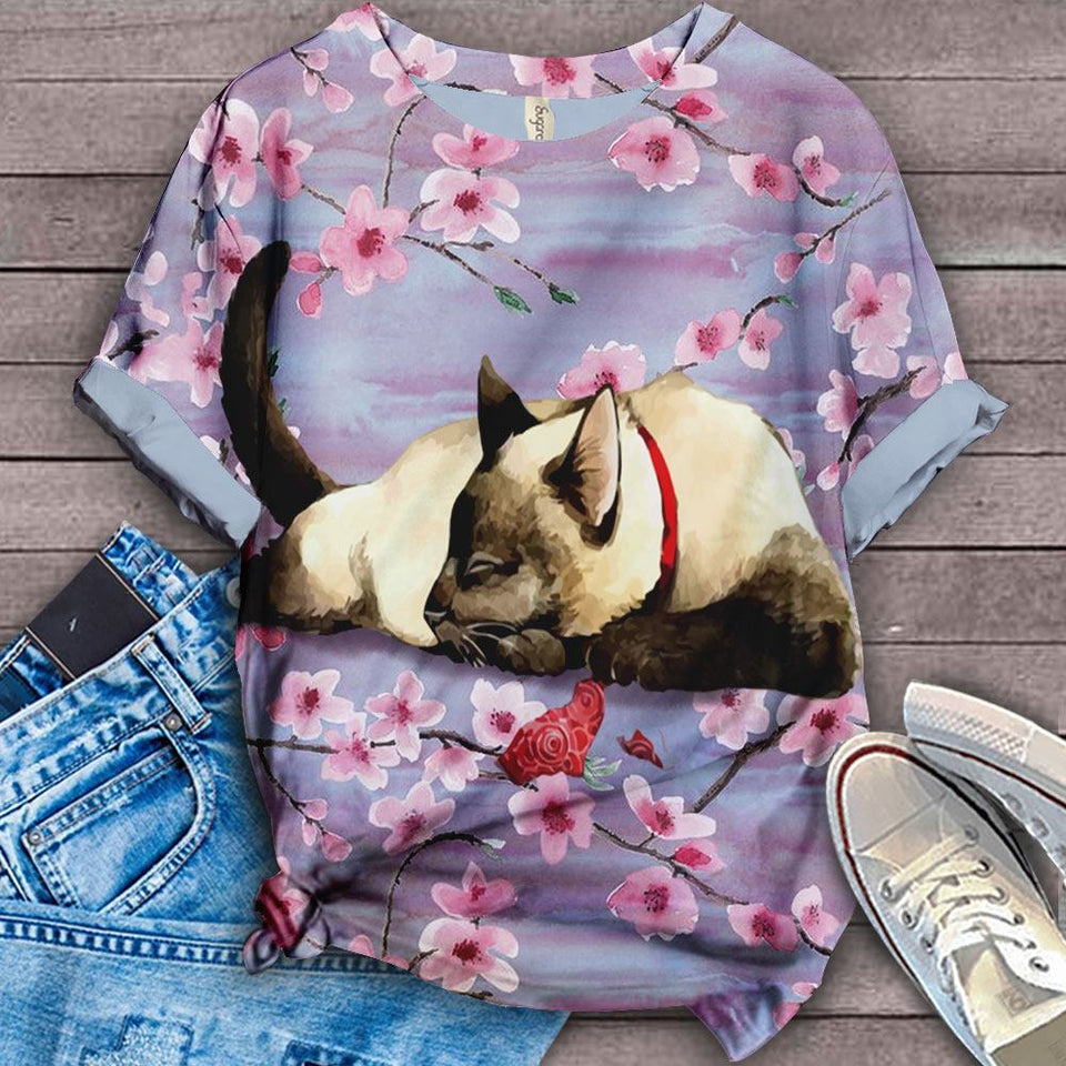 Cat & Cherry Blossom Designed Art T-shirt