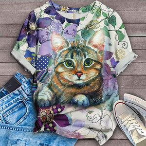 Cat Floral Love You T-Shirt 10