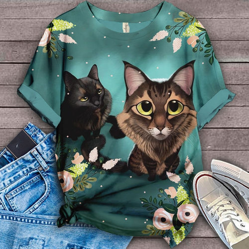 Cat Floral Love You T-Shirt 4