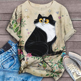 Cat Floral Love You T-Shirt 7