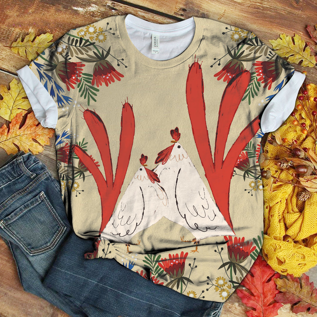 Floral Chicken Art T-shirt