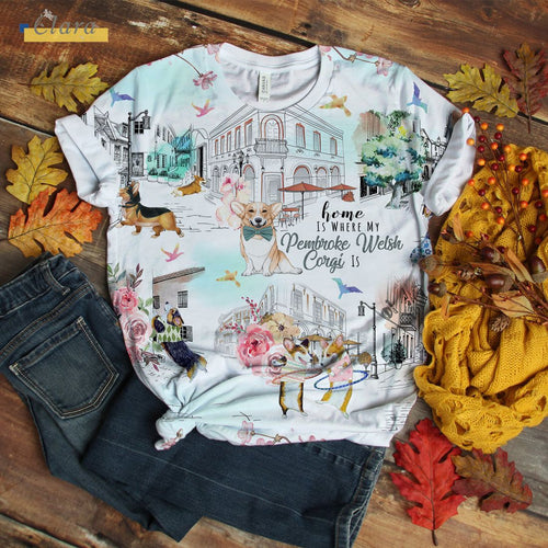 Pembroke Welsh Corgi T-shirt City Love You Flower City Art