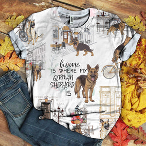 GERMAN SHEPHERD URBAN LOVE YOU FLOWER ART