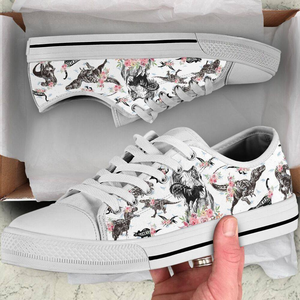 Floral Dinosaur Low Top Shoe