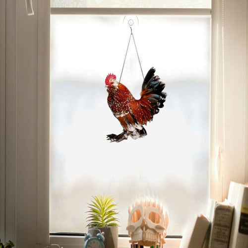 ROOSTER GIRLY  WINDOW DECOR