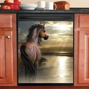 BEAUTIFUL SUMMER HORSE DECOR KITCHEN DISHWASHER COVER