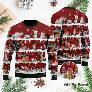 Cat Ugly Christmas Sweater For Cat Lovers