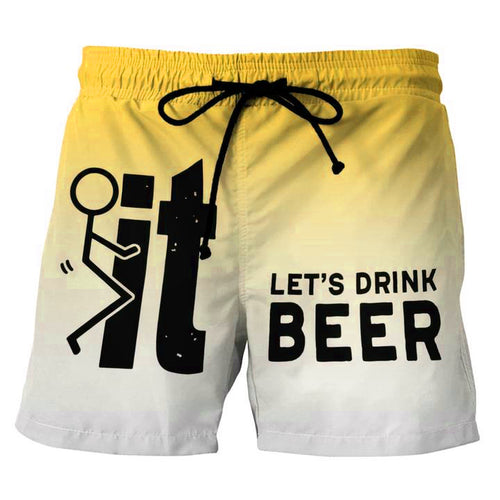 Let's Drink Beer Yellow Beach Shorts