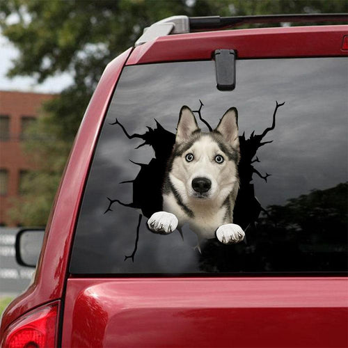 Siberian Husky Crack Car Sticker, Toilet Sticker, Fridge Sticker 21