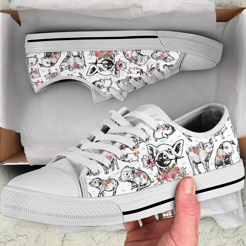 Floral Pig Low Top Shoe