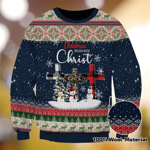 CHRISTMAS BEGINS WITH CHRIST XC01 SWEATER