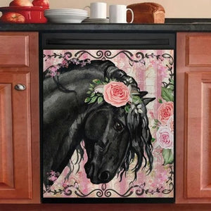 BEAUTIFUL BLACK HORSE AND ROSES DECOR KITCHEN DISHWASHER COVER