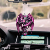 PINK DRAGON CROSS CAR HANGING ORNAMENT