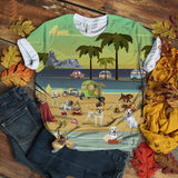 Labrador Retriever T-shirt Play At Beach Retro