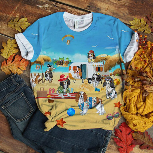 Cavalier King Charles Spaniel T-shirt Swag Play At Beach Retro