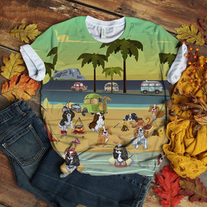 Cavalier King Charles Spaniel T-shirt Play At Beach Retro