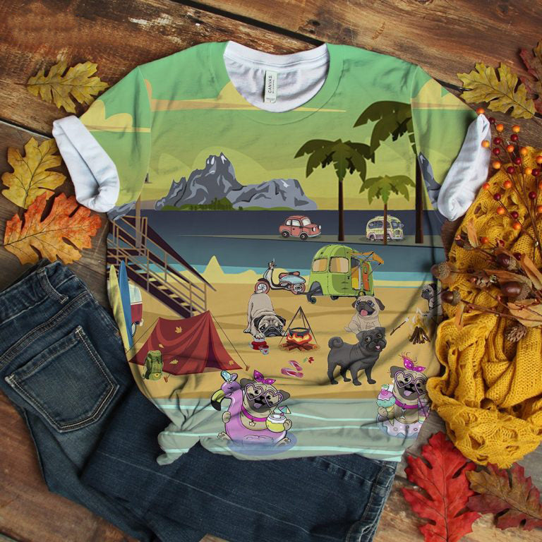 Pug T-shirt Play At Beach Retro