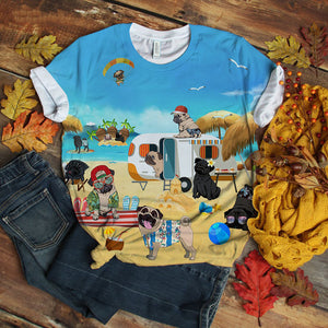 Pug T-shirt Swag Play At Beach Retro