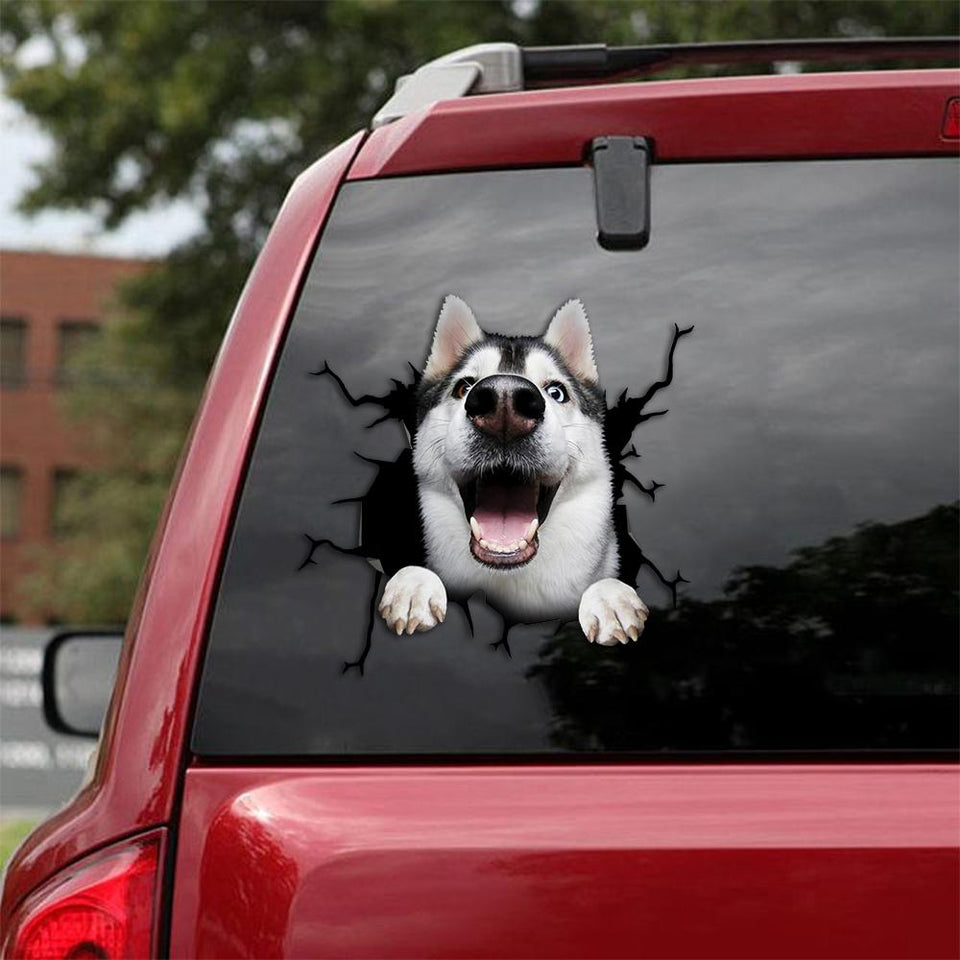 Siberian Husky Crack Car Sticker, Toilet Sticker, Fridge Sticker 18