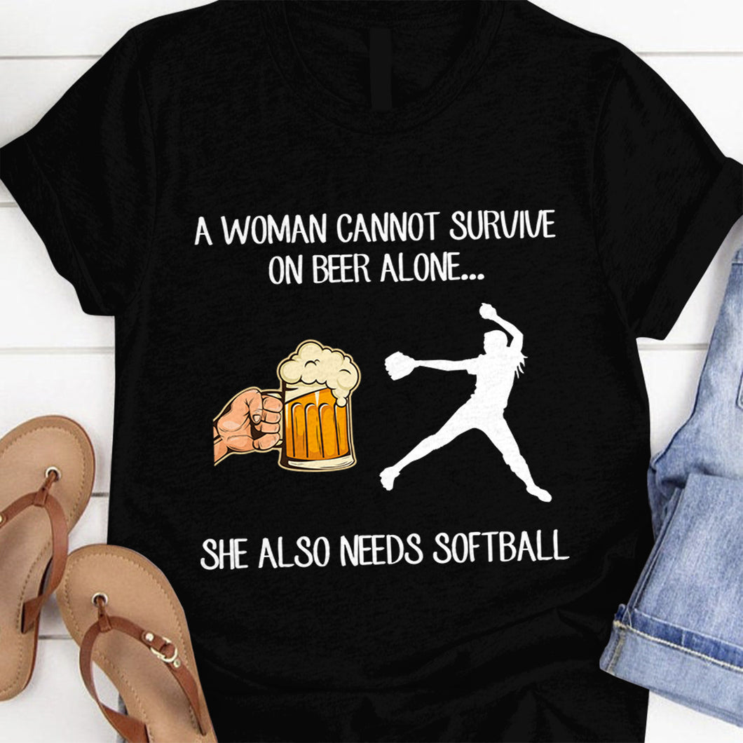 A woman cannot survive on beer alone she also needs softball