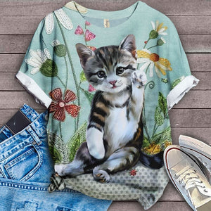 Cat Floral Love You T-Shirt 15