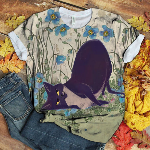 Cat Floral Love You T-Shirt 8