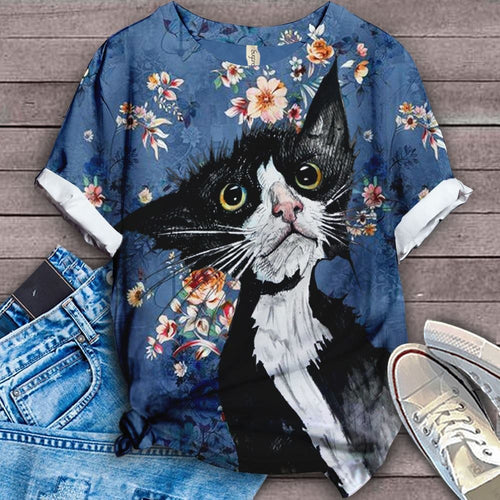 Cat Floral Love You T-Shirt 18