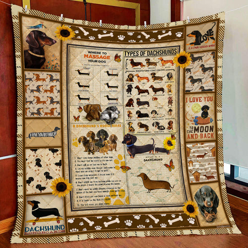 Dachshund Knowledge Quilt Blanket