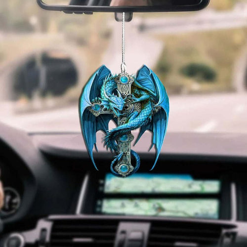 BLUE DRAGON CROSS CAR HANGING ORNAMENT
