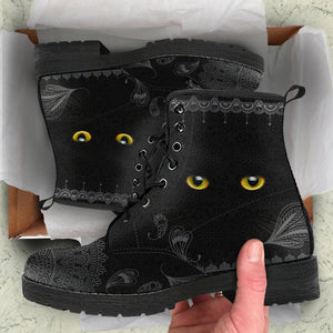 Leather Boots Black Cat