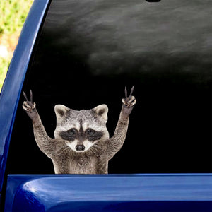 Racoon Peace Sign Car Sticker