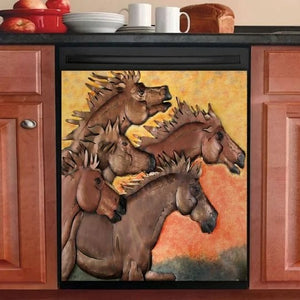 HORSE 5 HORSES DECOR KITCHEN DISHWASHER COVER