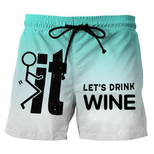 Let's Drink Wine Beach Shorts