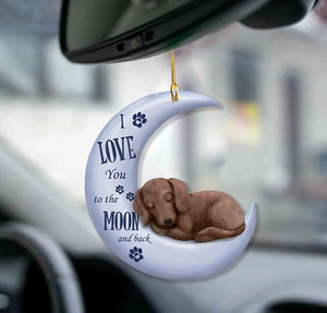 Dachshund moon back dachshund lover dog moms two sided ornament2