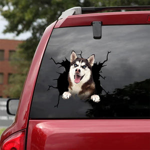 Siberian Husky Crack Car Sticker, Toilet Sticker, Fridge Sticker 41