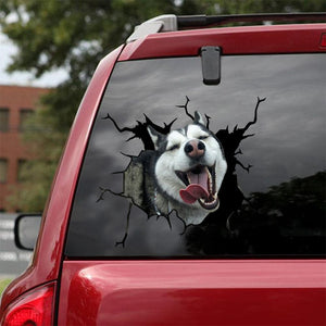 Siberian Husky Crack Car Sticker, Toilet Sticker, Fridge Sticker 36