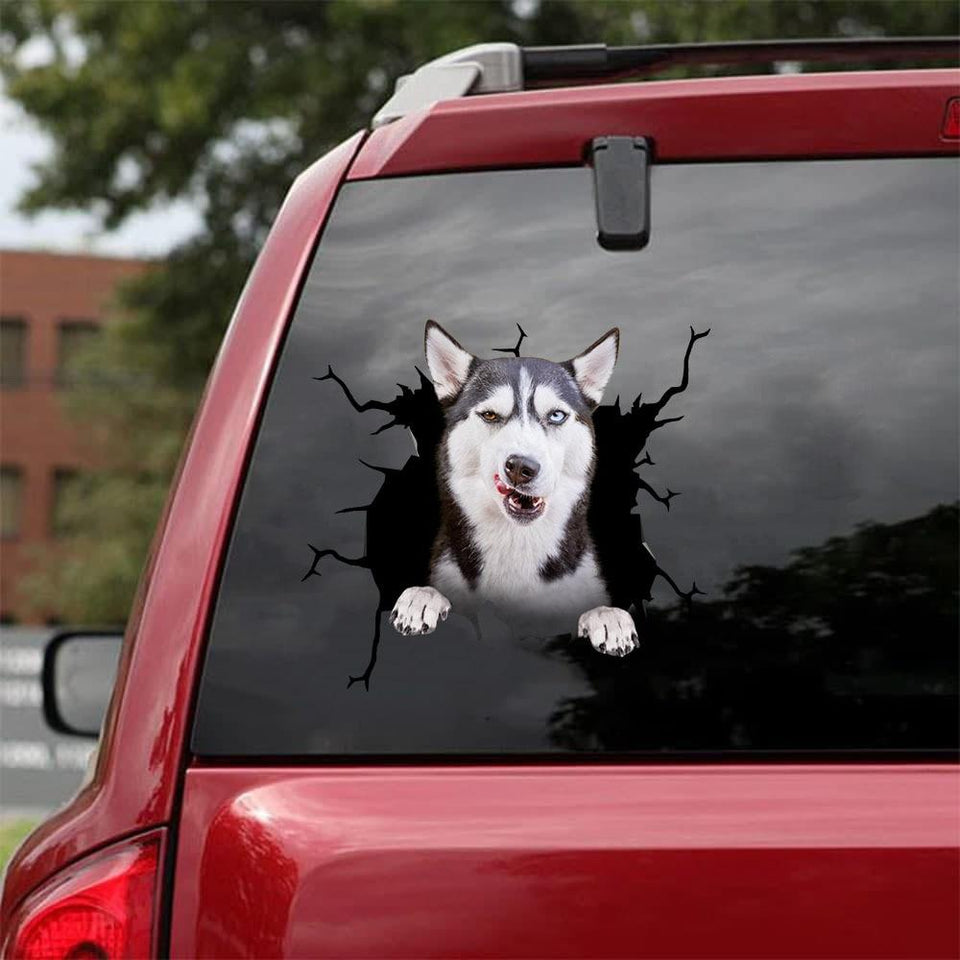 Siberian Husky Crack Car Sticker, Toilet Sticker, Fridge Sticker 3