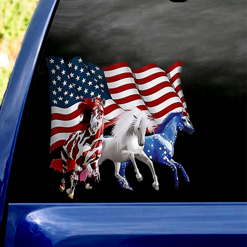 Horses with American Flags
