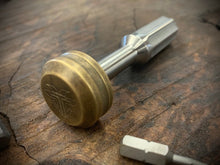 Load image into Gallery viewer, The Turas V2 EDC Bit Driver Raw Titanium w/ Brass Cap #312