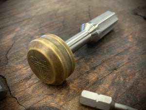 The Turas V2 EDC Bit Driver Raw Titanium w/ Brass Cap #312
