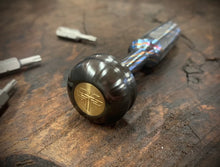 Load image into Gallery viewer, The Turas Elite V2 EDC Bit Driver Zircuti w/ Zirconium Cap Brass Inlay #364