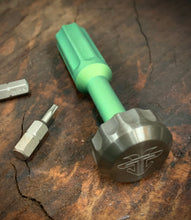 Load image into Gallery viewer, The Turas V2 EDC Bit Driver Titanium Blasted Bright Green w/ Zirconium Cap