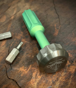 The Turas V2 EDC Bit Driver Titanium Blasted Bright Green w/ Zirconium Cap
