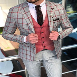 Aatukka Gray Slim Fit Plaid Suit