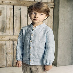 Blue linen top for boys