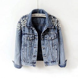 Pearls Beading Fashion Jeans Coat   Jackets