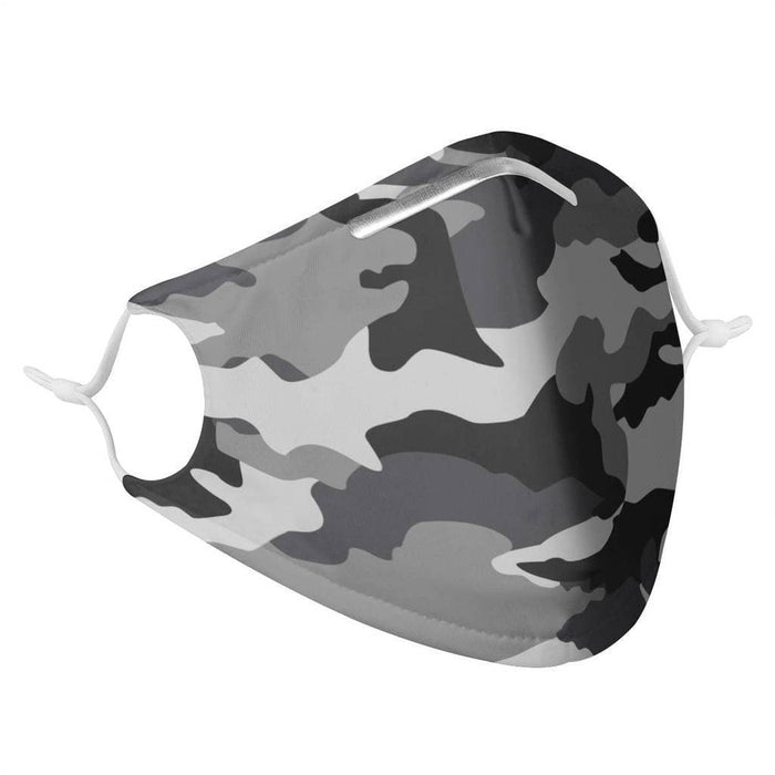 side profile of a fabric face covering with ear straps in gray camo