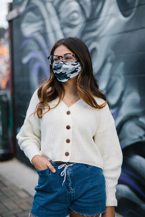 grey camo face mask with nosepiece