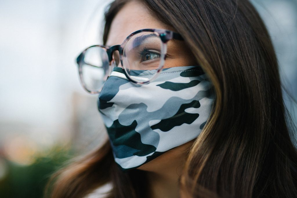 grey camo fabric mask side view